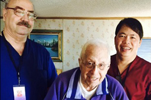 comfort caregiver with clients